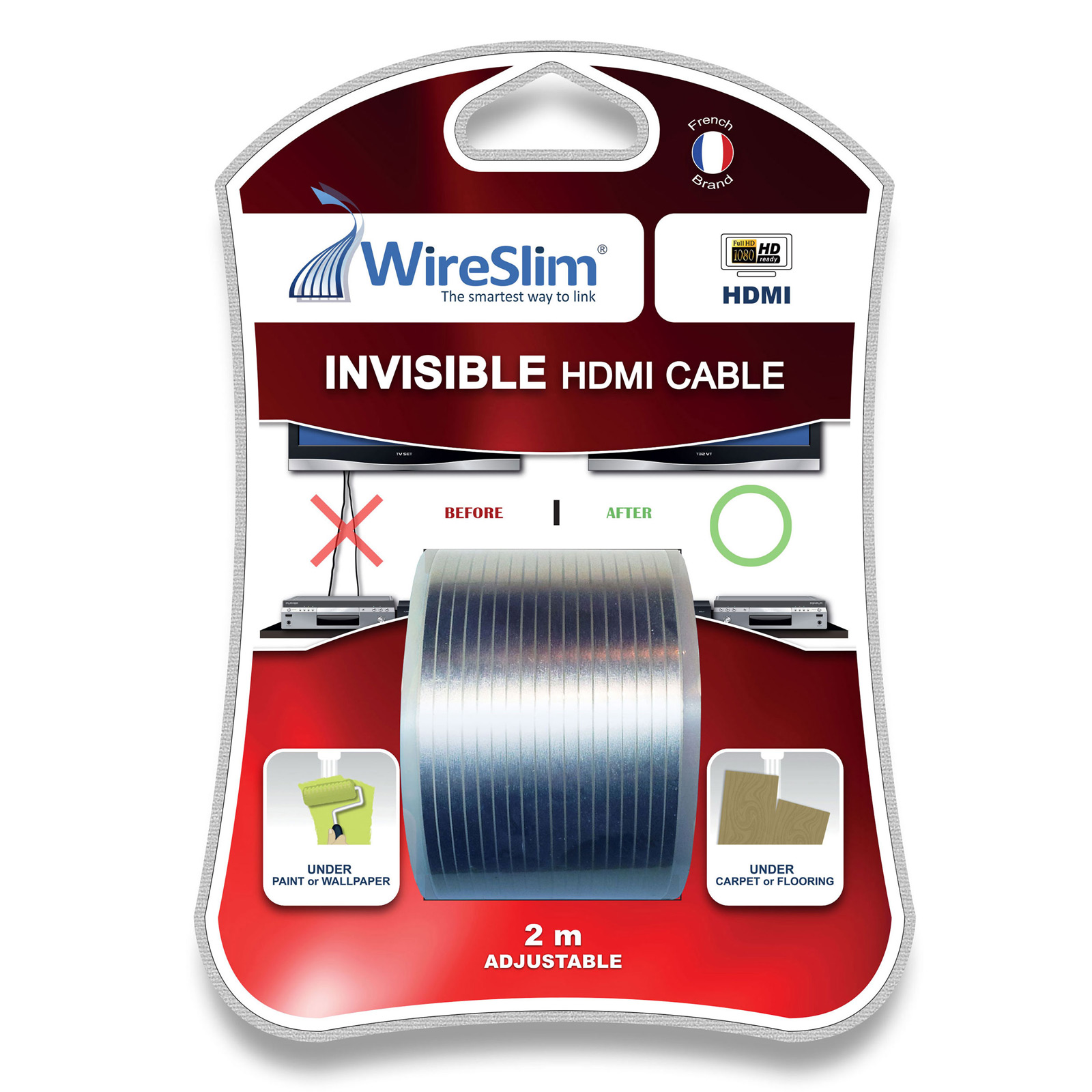 Wireslim invisible tv installation hdmi wireslim sur ldlc - Passe cable mural pour tv ...