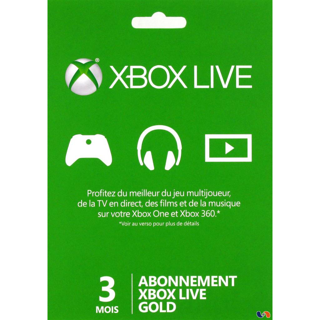 Accessoires Xbox 360 Microsoft Xbox Live Gold Membership Card (3 mois) Carte d'abonnement au Xbox Live Gold (pour Xbox 360 et Xbox One)