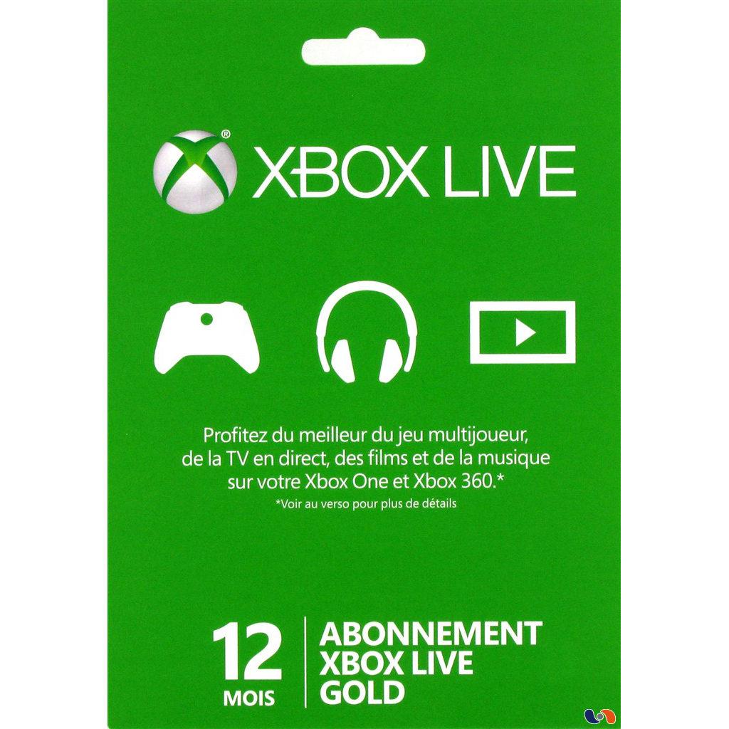 Accessoires Xbox 360 Microsoft Xbox Live Gold Membership Card (12 mois) Carte d'abonnement au Xbox Live Gold (pour Xbox 360 et Xbox One)