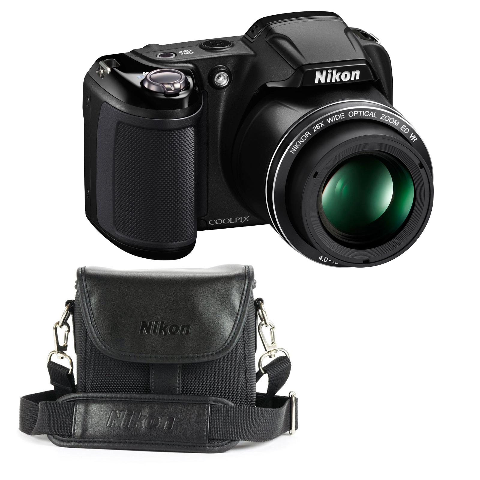 Appareil photo numérique Nikon Coolpix L330 Noir + Nikon CS-P08 Noir Appareil photo 20 MP - Zoom optique grand-angle 26x - Vidéo HD + Étui