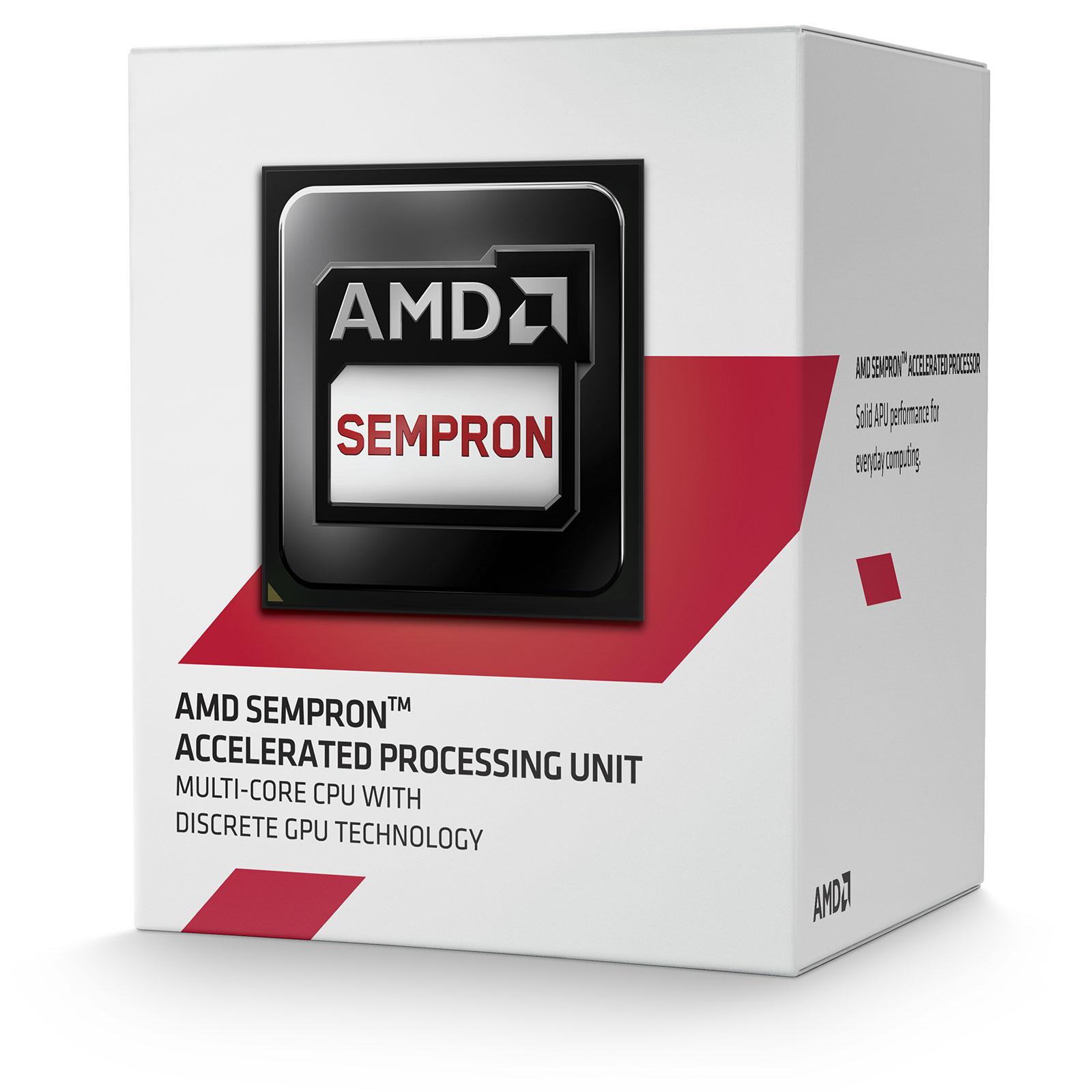 Processeur AMD Sempron 3850 (1.3 GHz) Processeur Quad Core Socket AM1 (FS1b) 0.028 micron Cache L2 2 Mo (version boîte - garantie constructeur 3 ans)