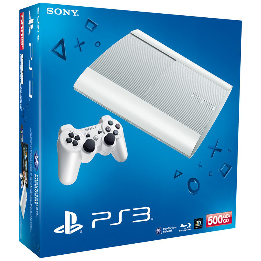 sony playstation 3 ultra slim blanche sony computer entertainment sur ldlc. Black Bedroom Furniture Sets. Home Design Ideas