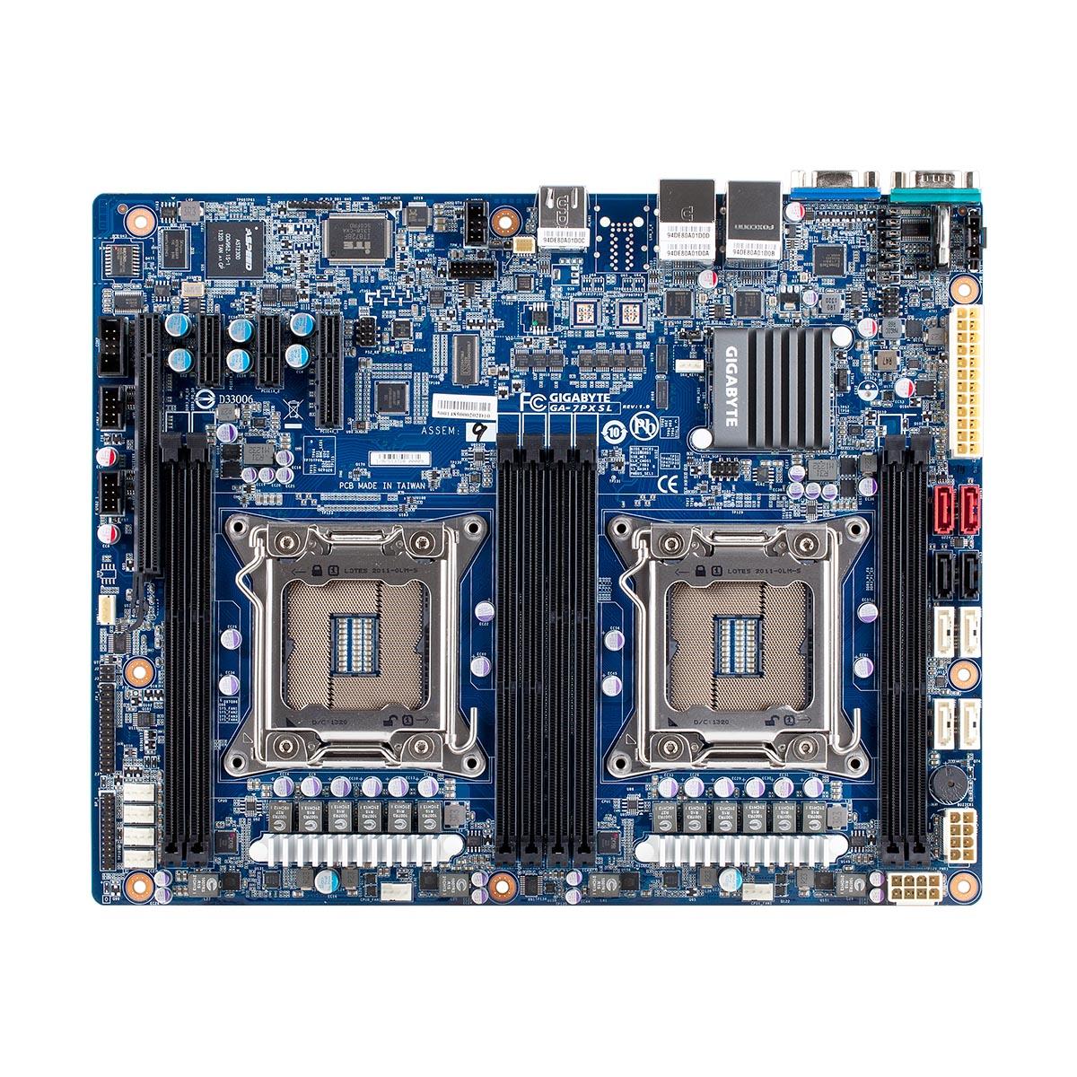 Carte mère Gigabyte GA-7PXSL Carte mère ATX 2x Socket 2011 Intel C602 - SAS Gb/s - SATA 6Gb/s - 1x PCI Express 3.0 16x - 2x Gigabit LAN