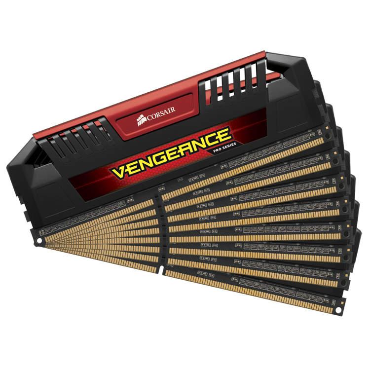 Mémoire PC Corsair Vengeance Pro Series 64 Go (8 x 8 Go) DDR3 2400 MHz CL11 Red Kit Quad Channel RAM DDR3 PC3-19200 - CMY64GX3M8A2400C11R (garantie à vie par Corsair)