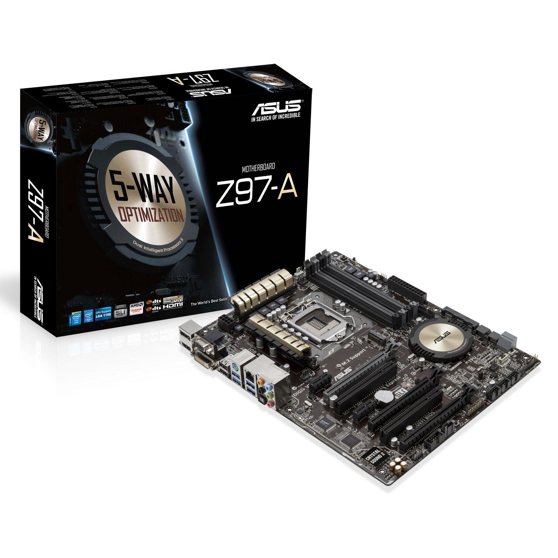 Carte mère ASUS Z97-A Carte mère ATX Socket 1150 Intel Z97 Express - SATA 6Gb/s - USB 3.0 - 2x PCI-Express 3.0 16x + 1x PCI-Express 2.0 16x