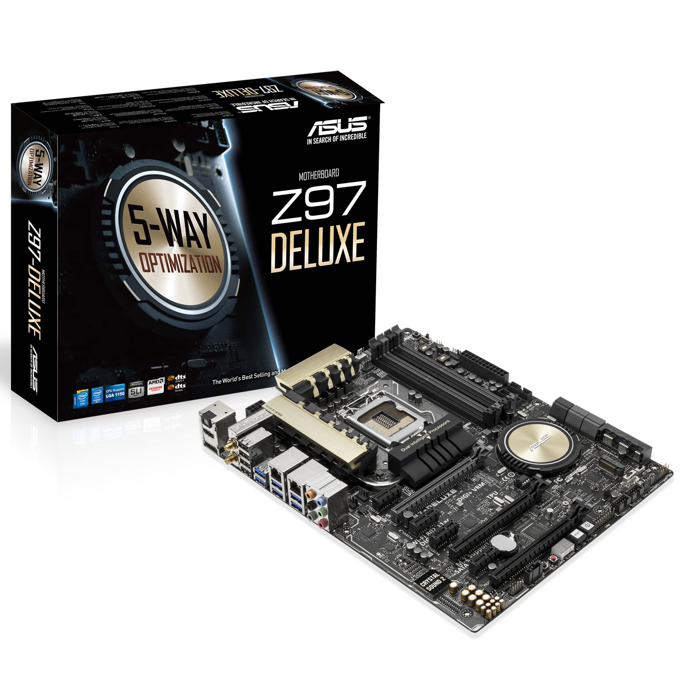 Carte mère ASUS Z97-DELUXE Carte mère ATX Socket 1150 Intel Z97 Express - SATA 6Gb/s - USB 3.0 - 2x PCI-Express 3.0 16x + 1x PCI-Express 2.0 16x