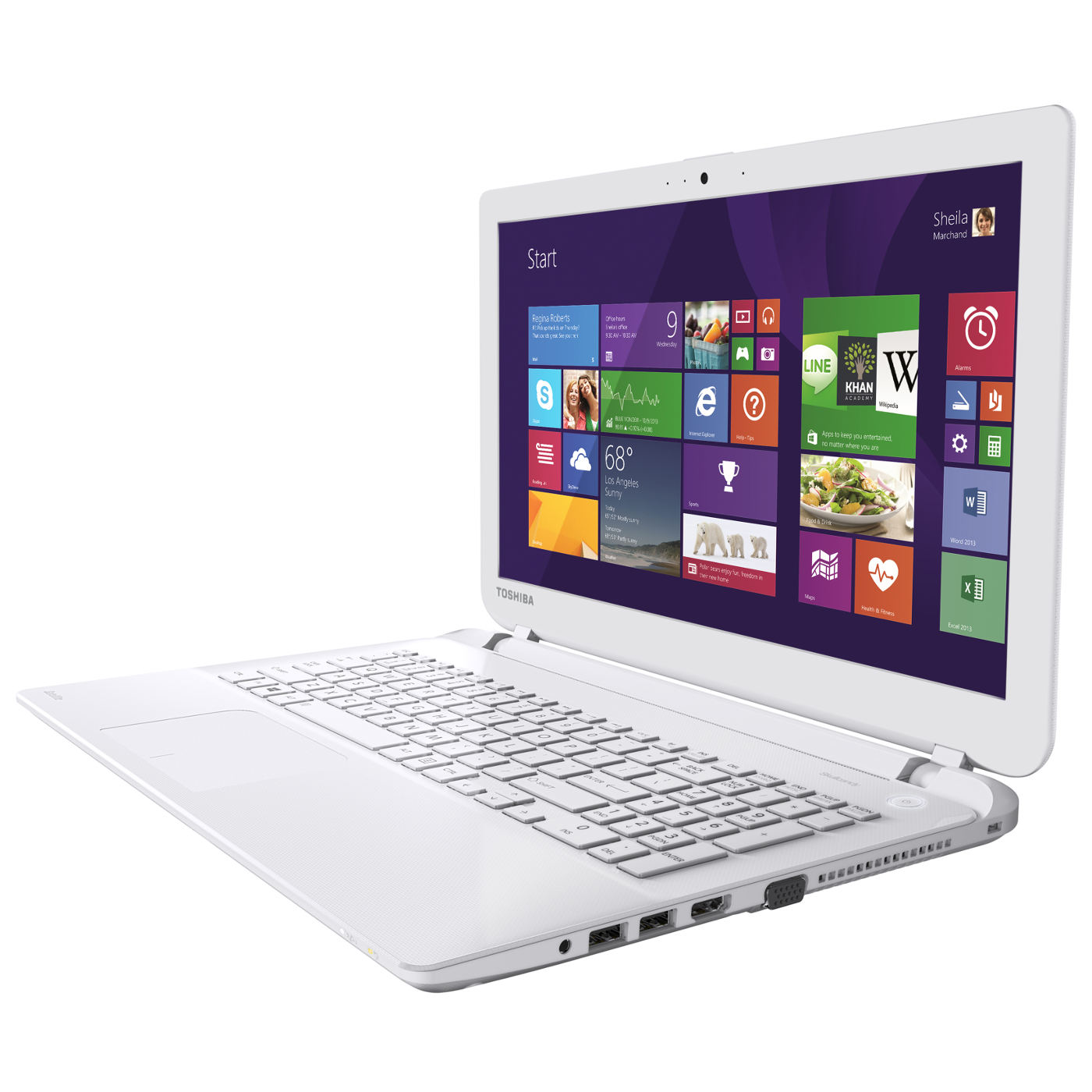 "PC portable Toshiba Satellite L50-B-192 Blanc Intel® Core™ i7-4500U 4 Go 750 Go 15.6"" LED HD AMD Radeon R7 M260 Graveur DVD Wi-Fi N/Bluetooth Webcam Windows 8.1 64 bits"