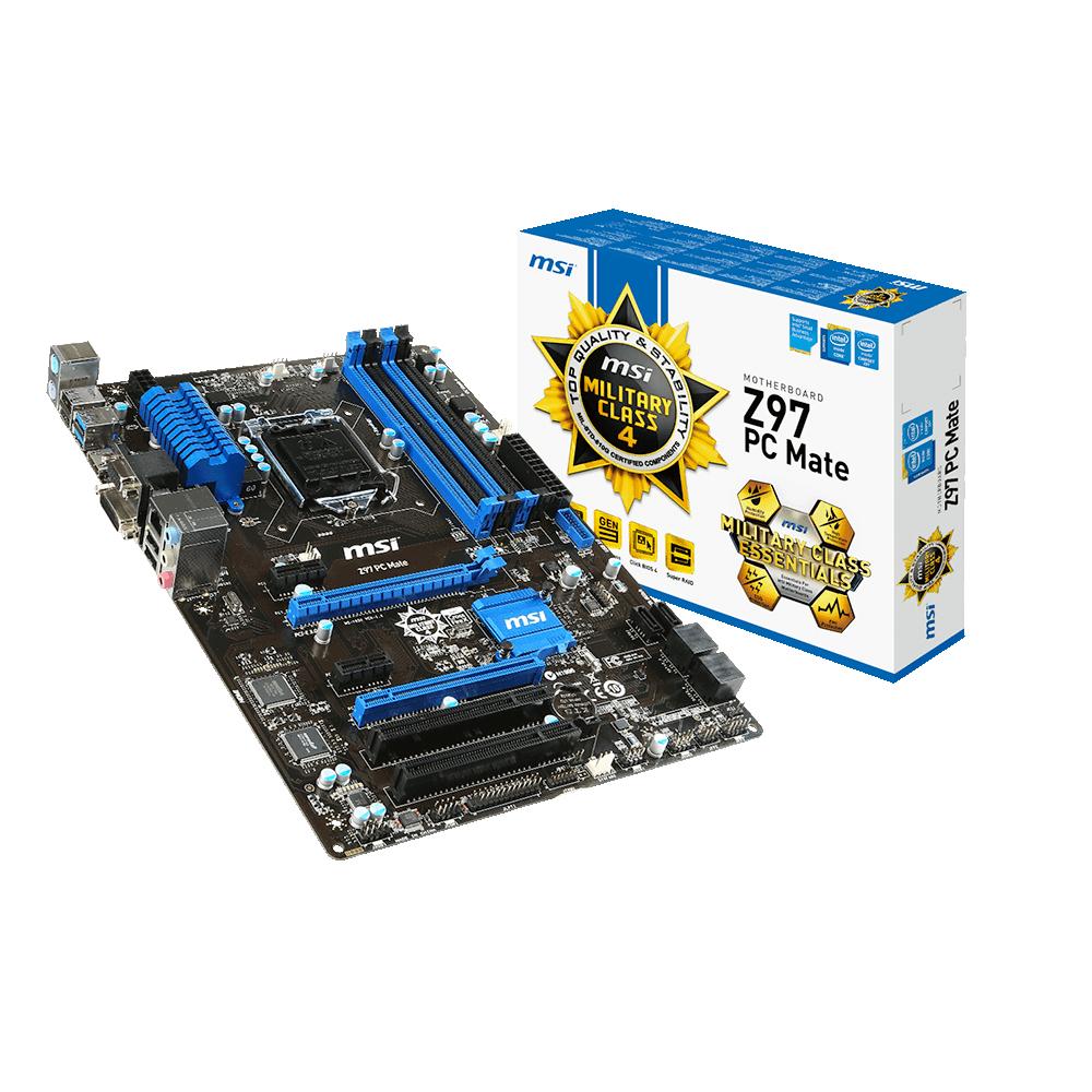 Carte mère MSI Z97 PC MATE Carte mère ATX Socket 1150 Intel Z97 Express - SATA 6Gb/s - USB 3.0 - 1x PCI-Express 3.0 16x - 1x PCI-Express 2.0 16x
