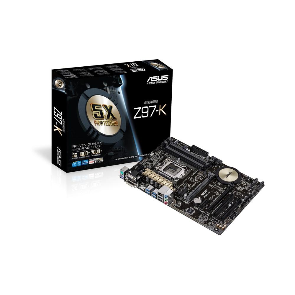 Carte mère ASUS Z97-K Carte mère ATX Socket 1150 Intel Z97 Express - SATA 6Gb/s - M.2 - USB 3.0 - 2x PCI-Express 3.0 16x + 1x PCI-Express 2.0 16x