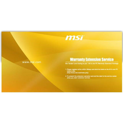Garanties PC MSI Extension de garantie 1 an supplémentaire - 956-AXXXXW-001 Extension de garantie pour PC All-in-One MSI jusqu'à 3 ans sur site