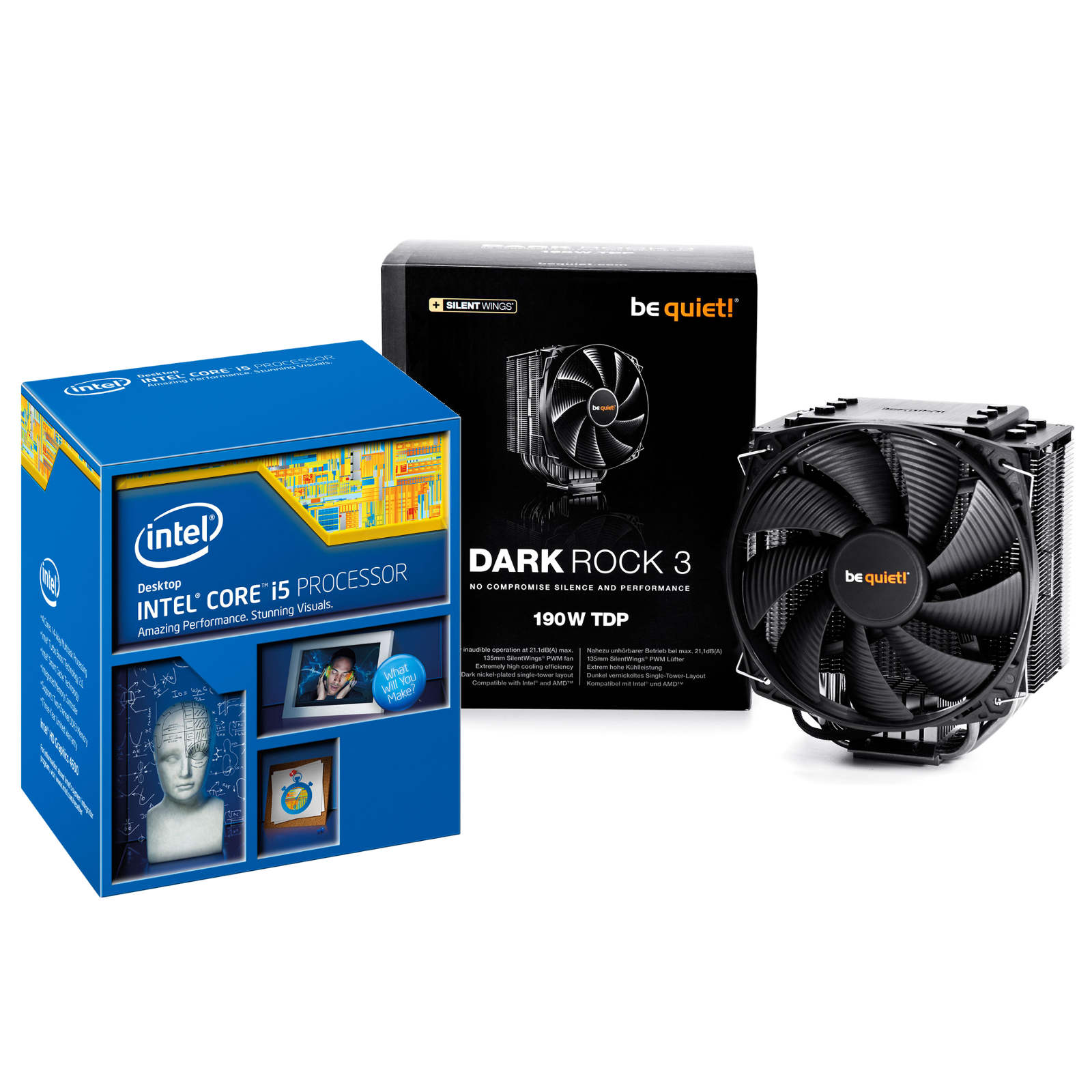 Processeur Intel Core i5-4690K (3.5 GHz) + Be Quiet ! Dark Rock 3 Processeur Quad Core Socket 1150 Cache L3 6 Mo Intel HD Graphics 4600 0.022 micron (version boîte - garantie Intel 3 ans) + Ventilateur de processeur