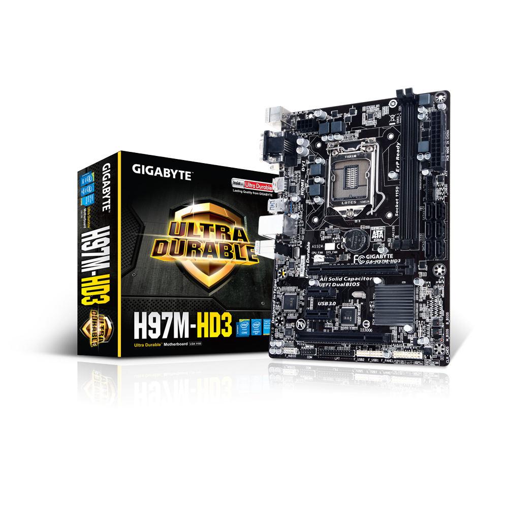 Carte mère Gigabyte GA-H97M-HD3 Carte mère Micro ATX Socket 1150 Intel H97 Express - SATA 6Gb/s - USB 3.0 - 1x PCI-Express 3.0 16x