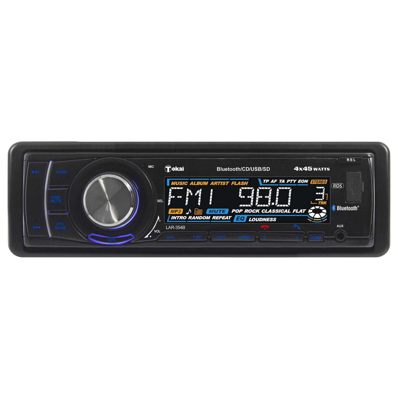 Autoradio Tokai LAR-354B Autoradio CD MP3 avec Bluetooth A2DP et port USB