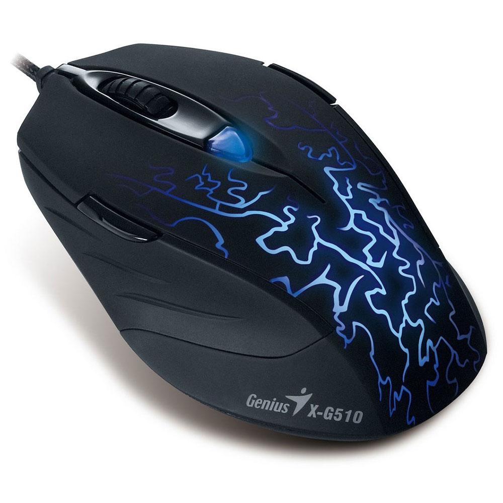 Souris PC Genius X-G510 Souris filaire pour gamer - ambidextre - capteur optique 2000 dpi - 6 boutons programmables - rétro-éclairage
