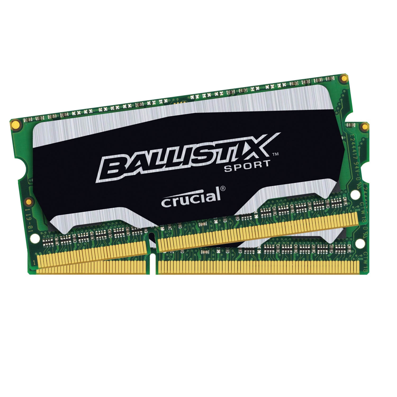 Mémoire PC Ballistix Sport SO-DIMM 8 Go (2 x 4 Go) DDR3L 1600 MHz CL9 Kit Dual Channel RAM DDR3 PC12800 - BLS2C4G3N169ES4CEU (garantie à vie par Crucial)