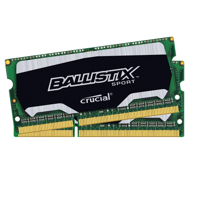 Mémoire PC Ballistix Sport SO-DIMM 8 Go (2 x 4 Go) DDR3L 1866 MHz CL10 Kit Dual Channel RAM DDR3 PC14900 - BLS2C4G3N18AES4CEU (garantie à vie par Crucial)