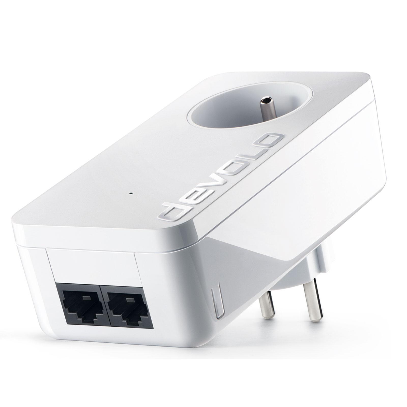 CPL Devolo dLAN 550 duo+  Adaptateur CPL 500 Mbps avec 2 ports Fast Ethernet et prise électrique