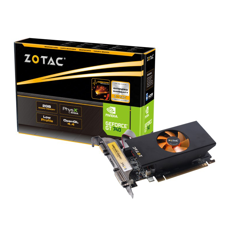 Carte graphique ZOTAC GeForce GT 740 2 GB LP (Low Profile) 2 Go HDMI/DVI - PCI Express (NVIDIA GeForce avec CUDA GT 740)
