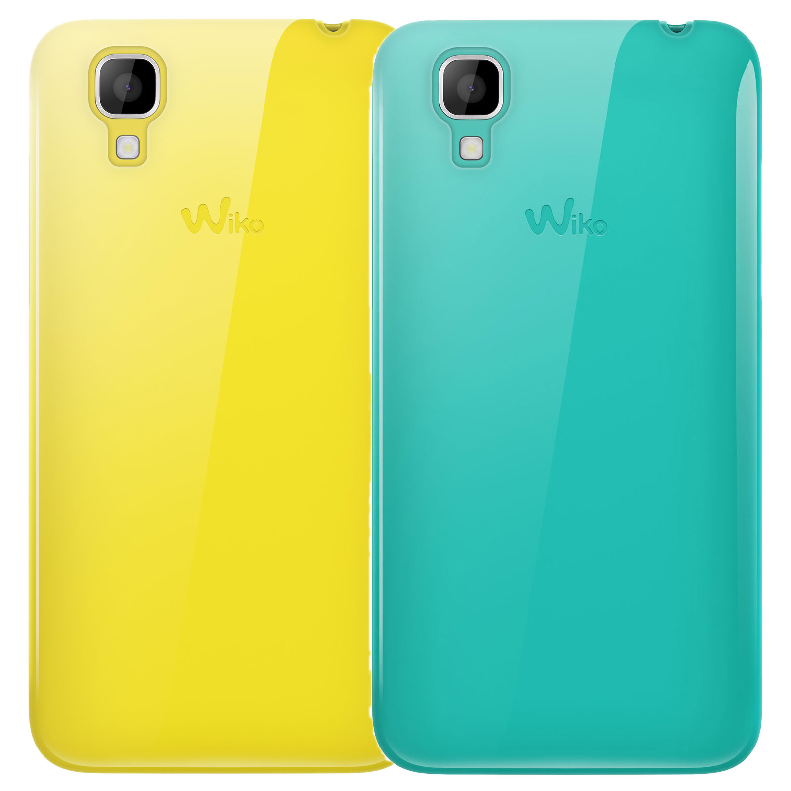 wiko lot de 2 coques jaune et turquoise wiko sunset etui. Black Bedroom Furniture Sets. Home Design Ideas