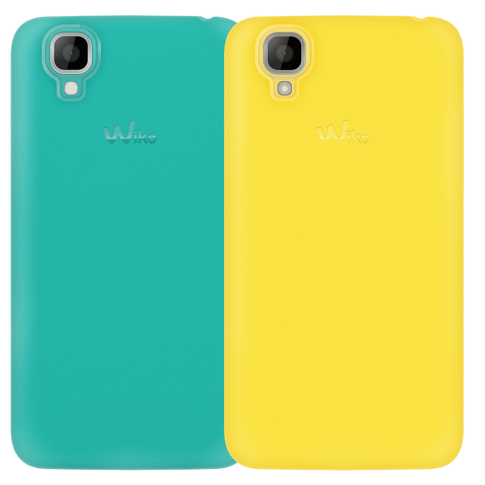 Etui téléphone Wiko lot de 2 coques jaune et turquoise Wiko GOA Lot de 2 coques pour Wiko GOA
