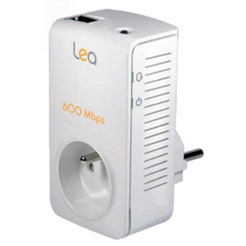 CPL LEA Netsocket 600 Fiber Mono  Mini adaptateur CPL  600 Mbps avec prise électrique intégrée
