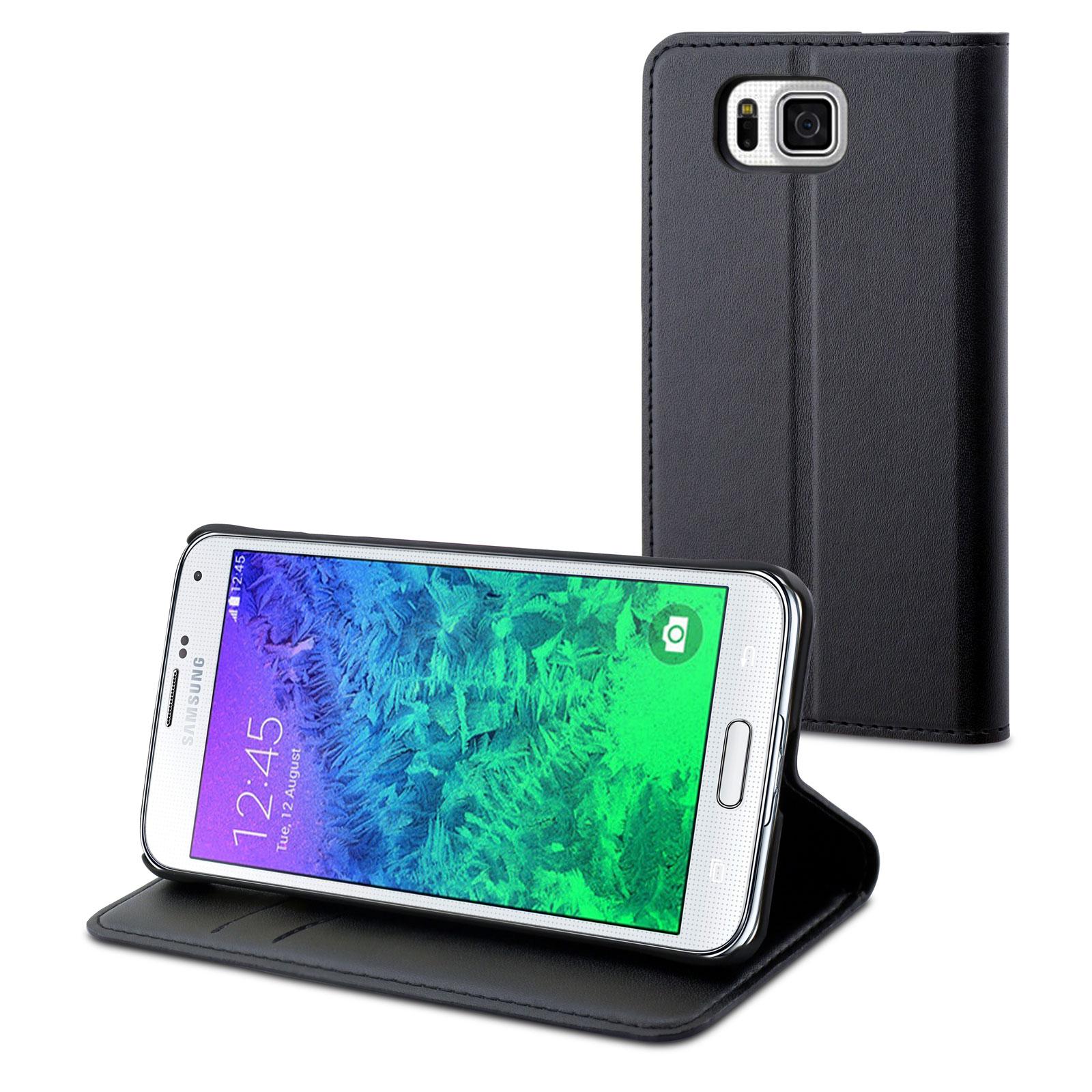 Etui téléphone Muvit Etui Slim S Folio Noir Galaxy Alpha Etui folio pour Samsung Galaxy Alpha