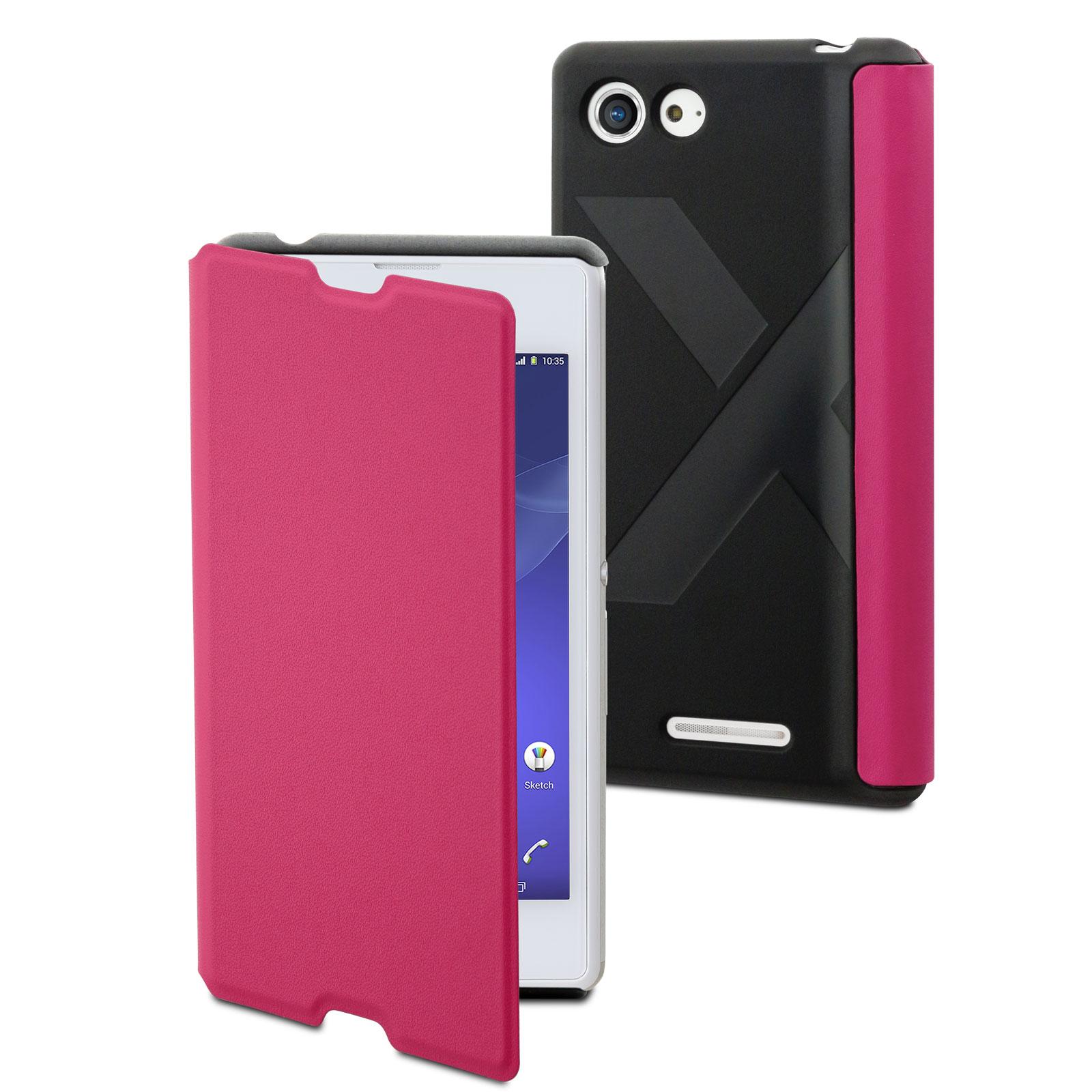Etui téléphone Made for Xperia Etui Easy Folio Rose Sony Xperia E3 Etui de protection à clapet pour Sony Xperia E3