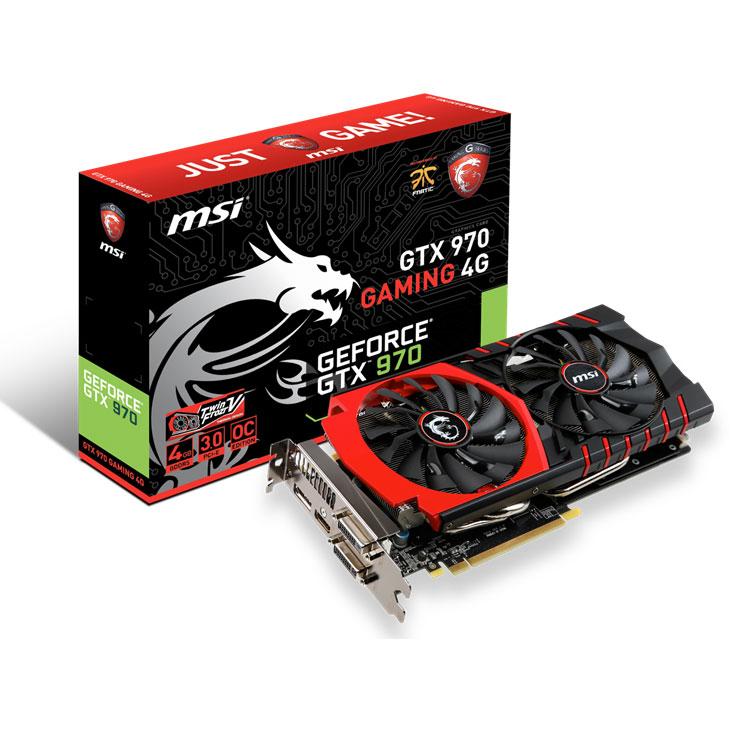 Carte graphique MSI GeForce GTX 970 GAMING 4G 4 Go 4096 Mo Dual DVI/HDMI/DisplayPort - PCI Express (NVIDIA GeForce avec CUDA GTX 970)