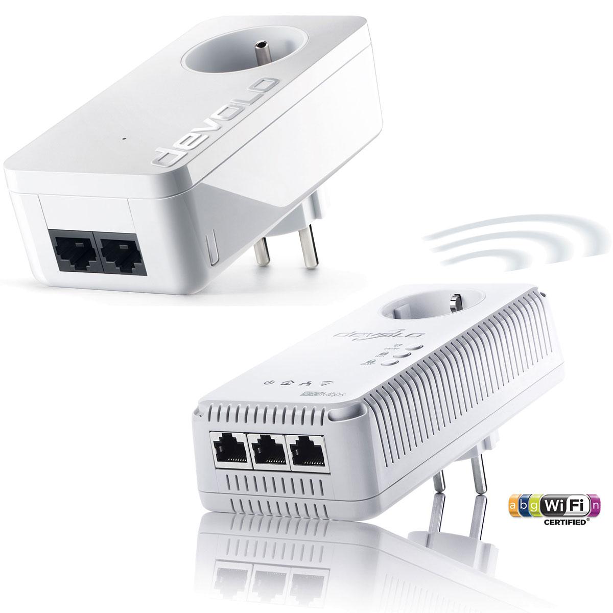 CPL Devolo dLAN 500 AV Wireless+ + Devolo dLAN 550 duo+ Adaptateur CPL 500 Mbps avec switch Ethernet 3 ports + Adaptateur CPL 500 Mbps avec 2 ports Fast Ethernet et prise électrique