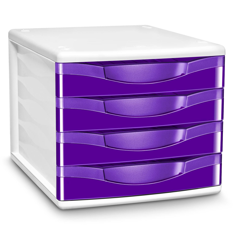 Cep module de classement 4 tiroirs gloss violet 894g for Classement papier bureau
