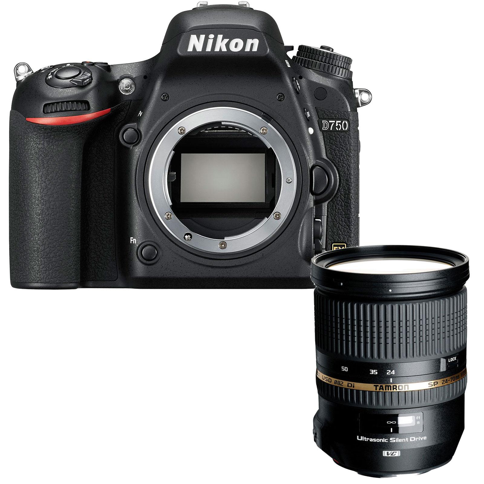 "Appareil photo Reflex Nikon D750 + Tamron SP 24-70 mm F/2,8 Di VC USD Réflex Numérique 24.3 MP - Ecran inclinable 3.2"" - Vidéo Full HD 1080p - Wi-Fi + Objectif"