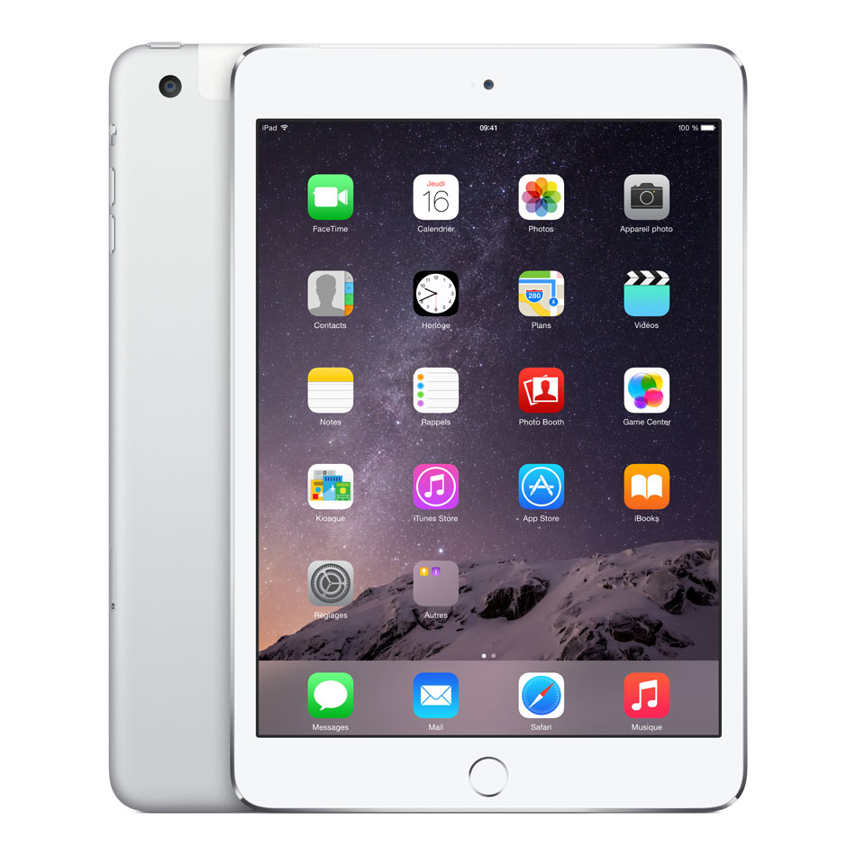 "Tablette tactile Apple iPad mini 3 avec écran Retina Wi-Fi + Cellular 128 Go Argent Tablette Internet 4G-LTE - Apple A7 1.3 GHz 1 Go 128 Go 7.9"" LED tactile Wi-Fi N/Bluetooth Webcam iOS 8"