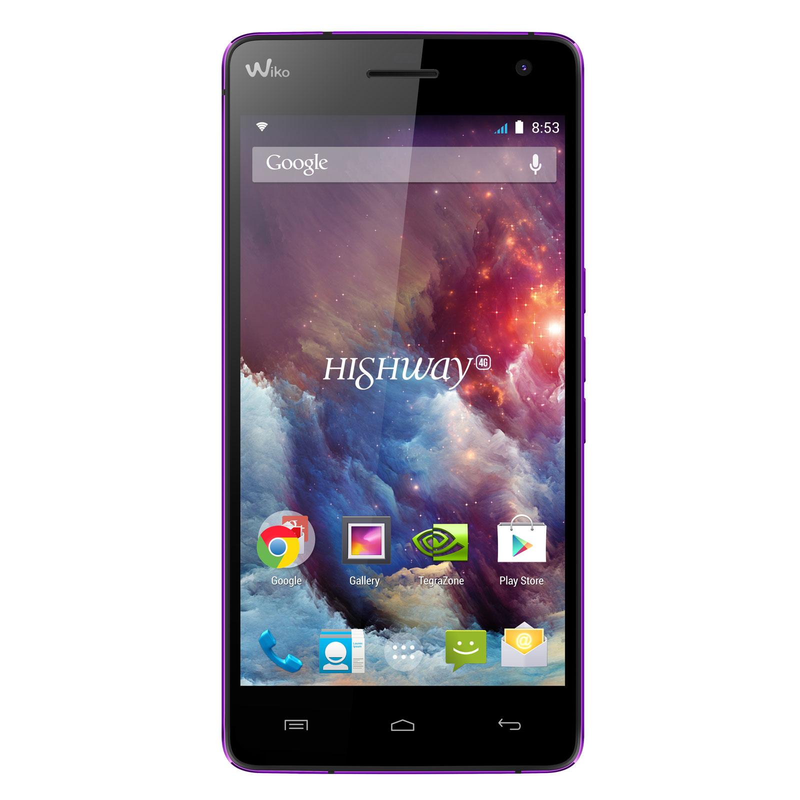 "Mobile & smartphone Wiko Highway 4G Violet Smartphone 4G-LTE - NVIDIA Tegra 4i Quad-Core 2 GHz - RAM 2 Go - Ecran tactile 5"" 1080 x 1920 - 16 Go - Bluetooth 4.0 - 2350 mAh - Android 4.4"