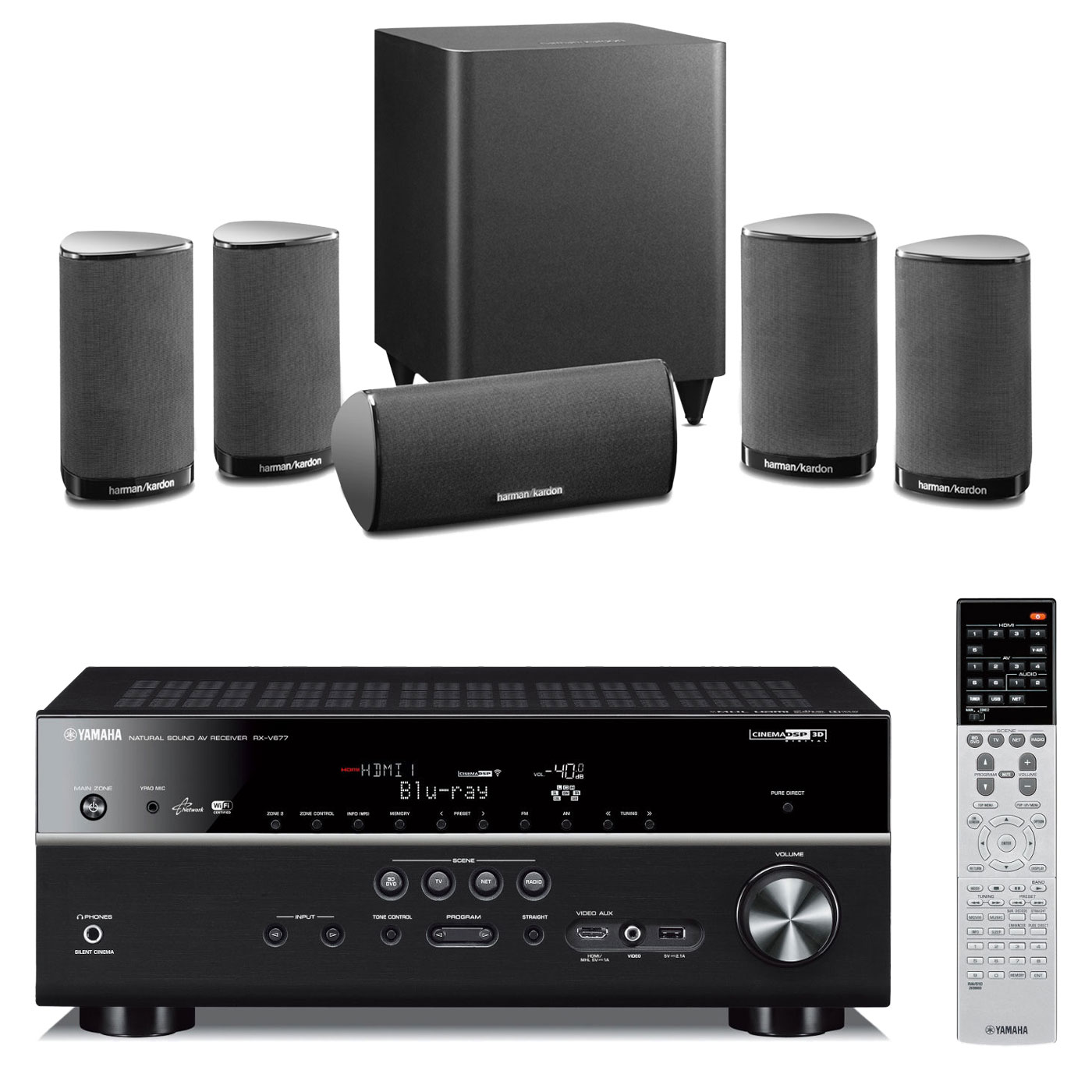 Yamaha rx v677 noir harman kardon hkts 5 noir ensemble home cin ma yamaha - Home cinema 2 1 sans fil ...