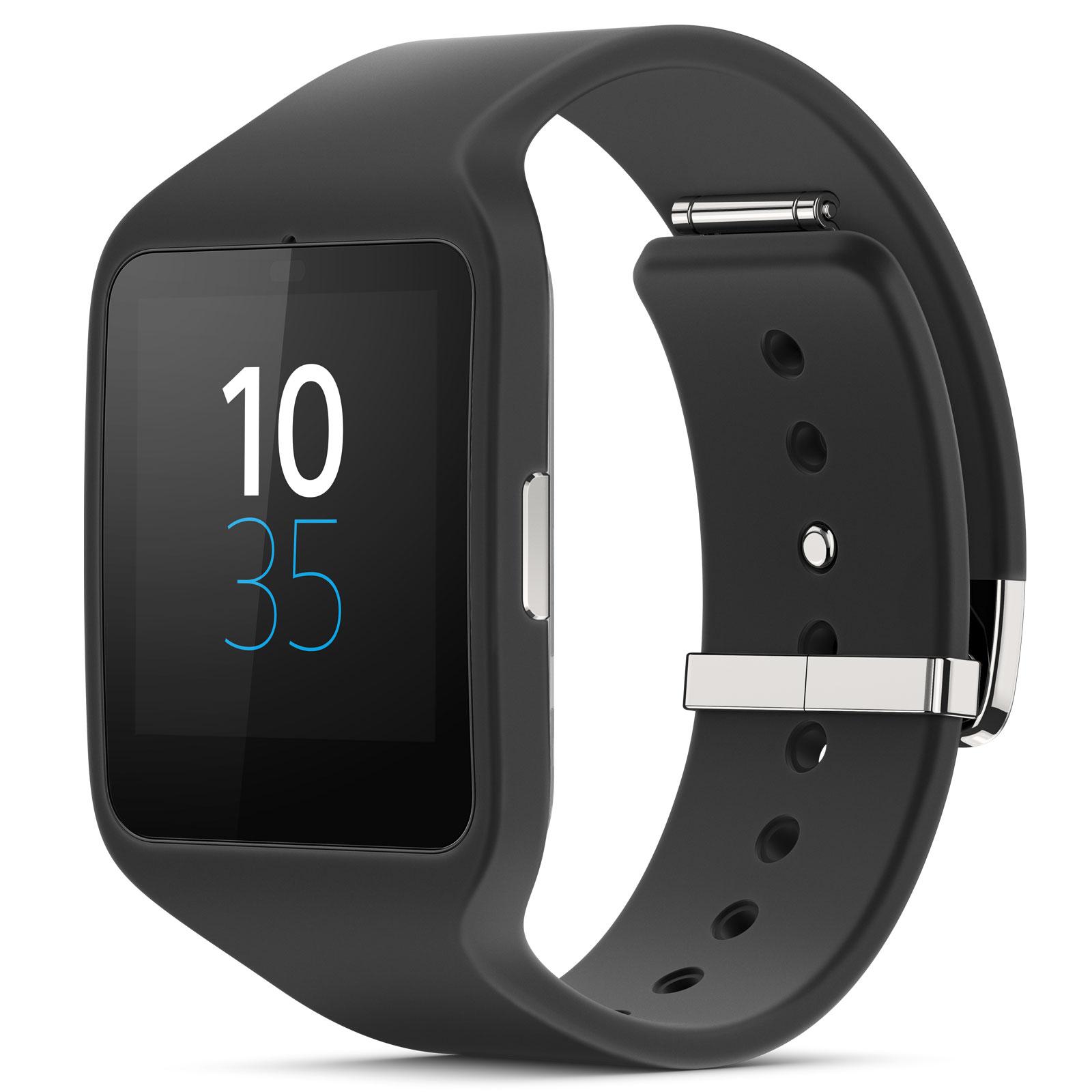 Montre & Bracelets connectés Sony SmartWatch 3 Silicone Noire Montre Android Bluetooth/NFC certifiée IP68 avec écran LCD tactile et bracelet en silicone
