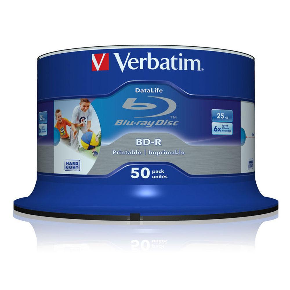 Blu-ray Verbatim BD-R SL 25 Go vitesse 6x imprimable (par 50, spindle) Pack de 50 BD-R SL 25 Go certifié 6x avec une surface blanche imprimable