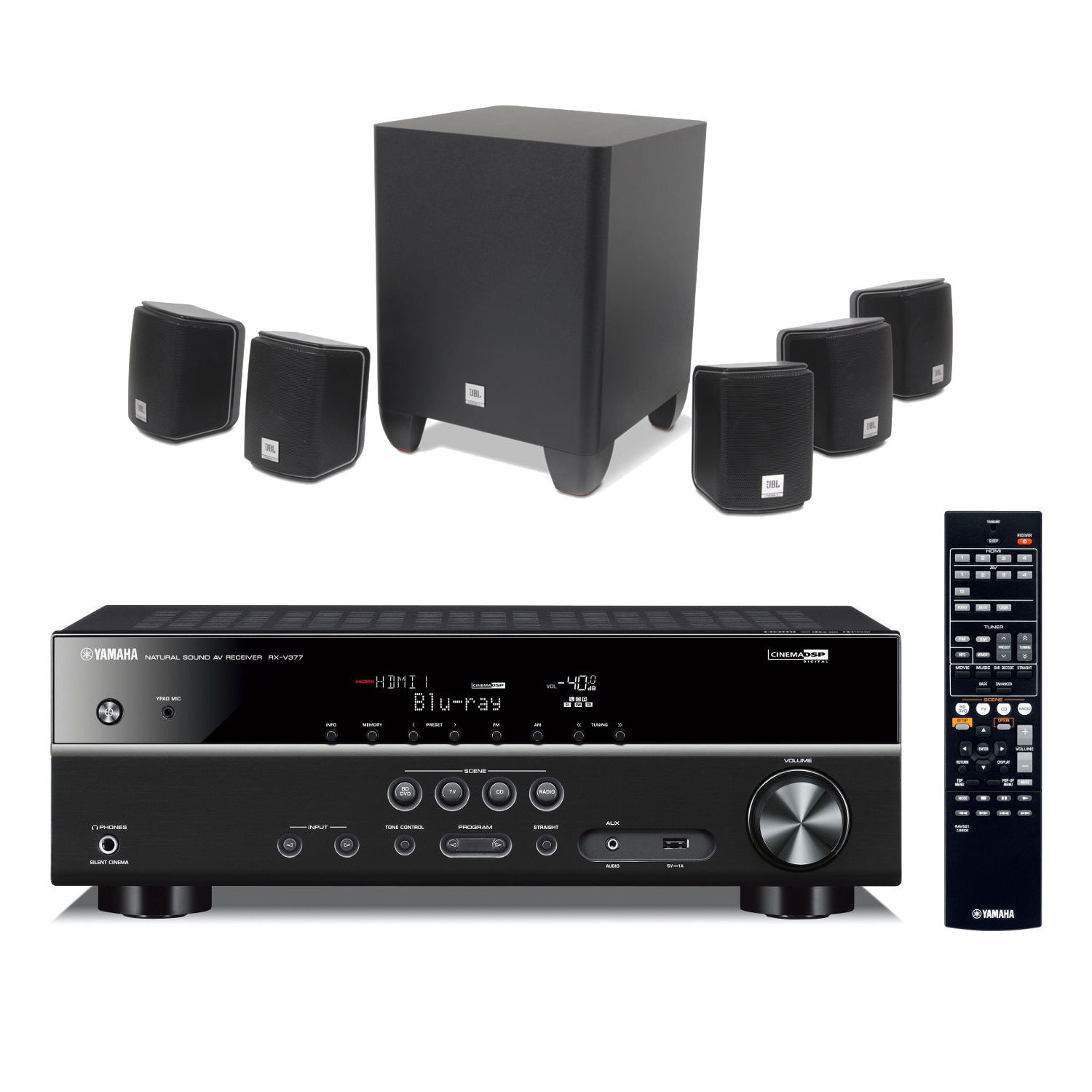 Yamaha rx v377 noir jbl cinema 510 ensemble home cin ma yamaha sur ldlc - Ensemble tv home cinema ...