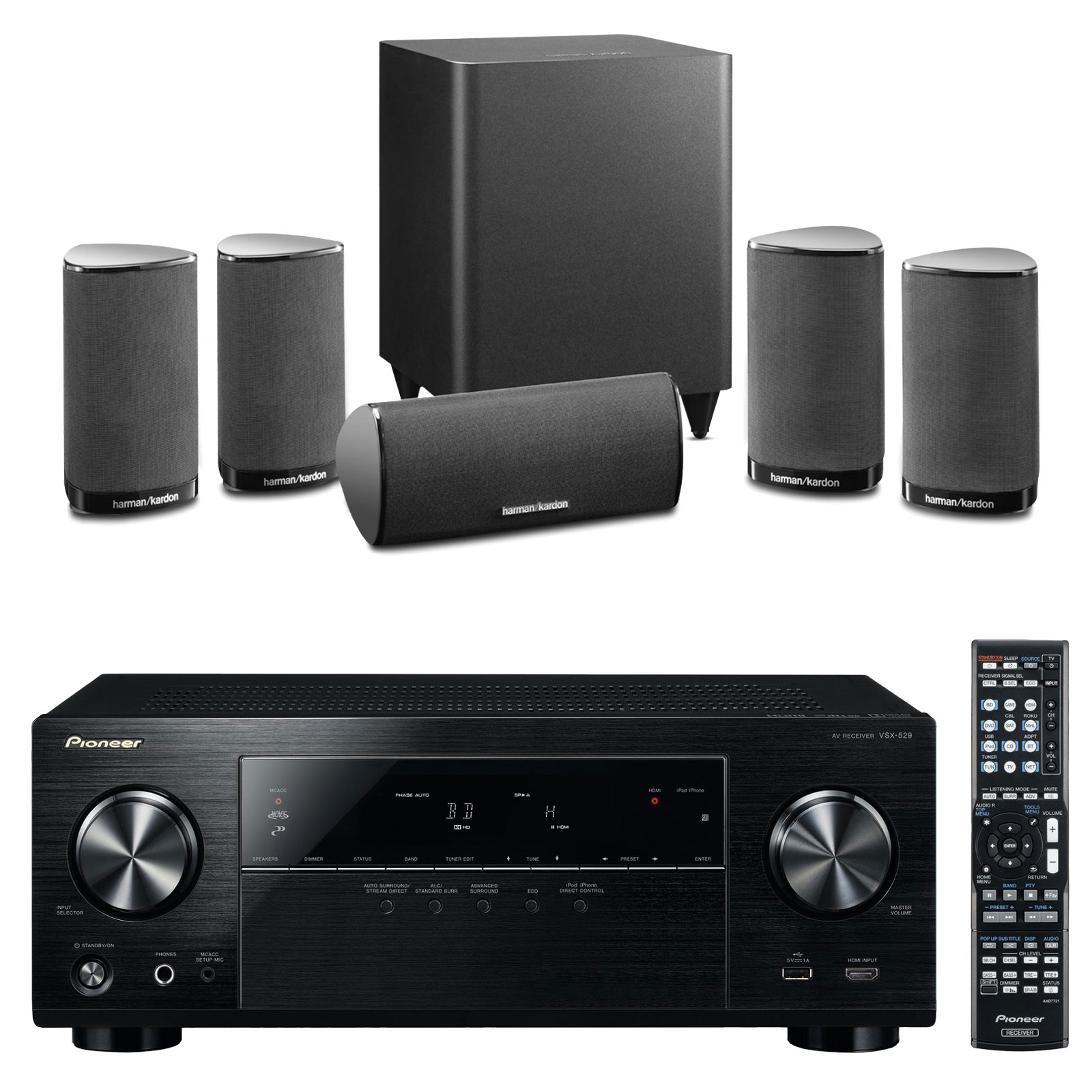 pioneer vsx 529 k harman kardon hkts 5 ensemble home. Black Bedroom Furniture Sets. Home Design Ideas