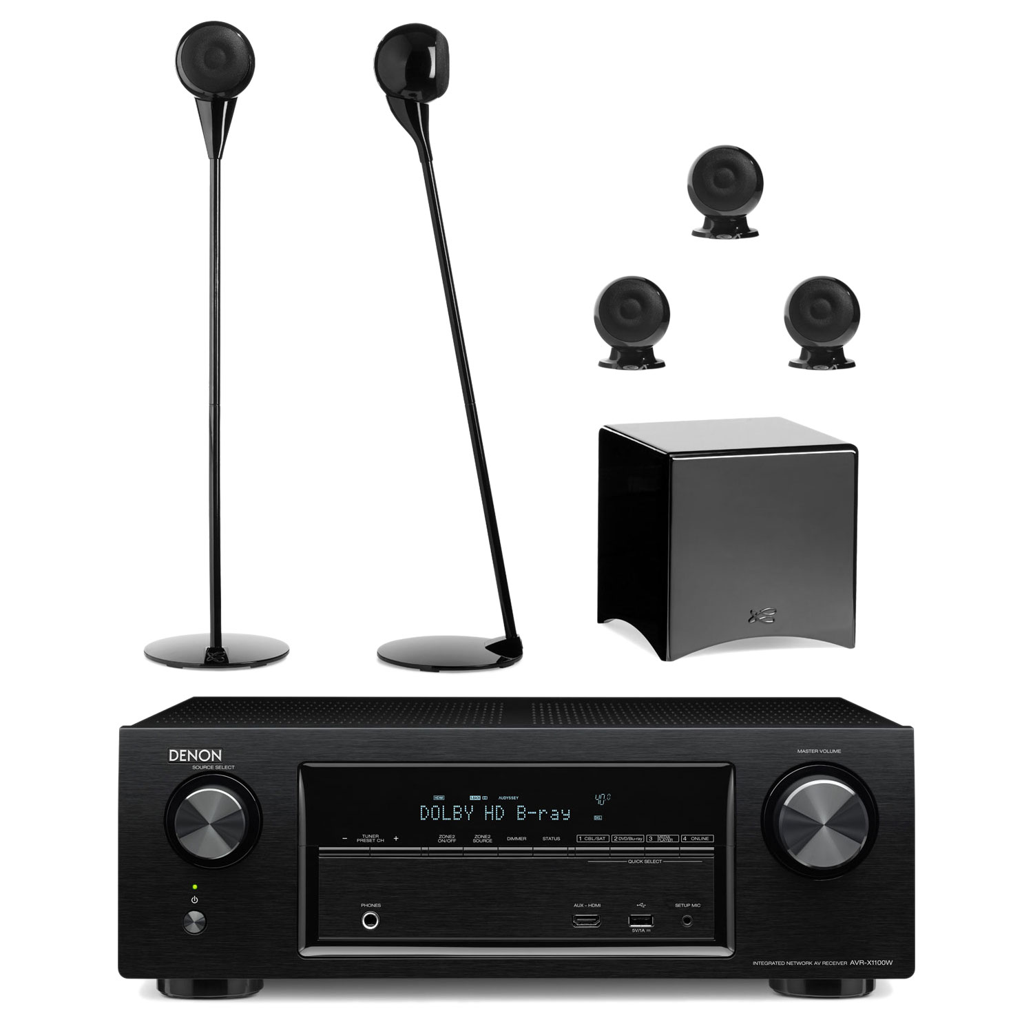 denon avr x1100w noir cabasse pack eole 3 5 1 noir. Black Bedroom Furniture Sets. Home Design Ideas
