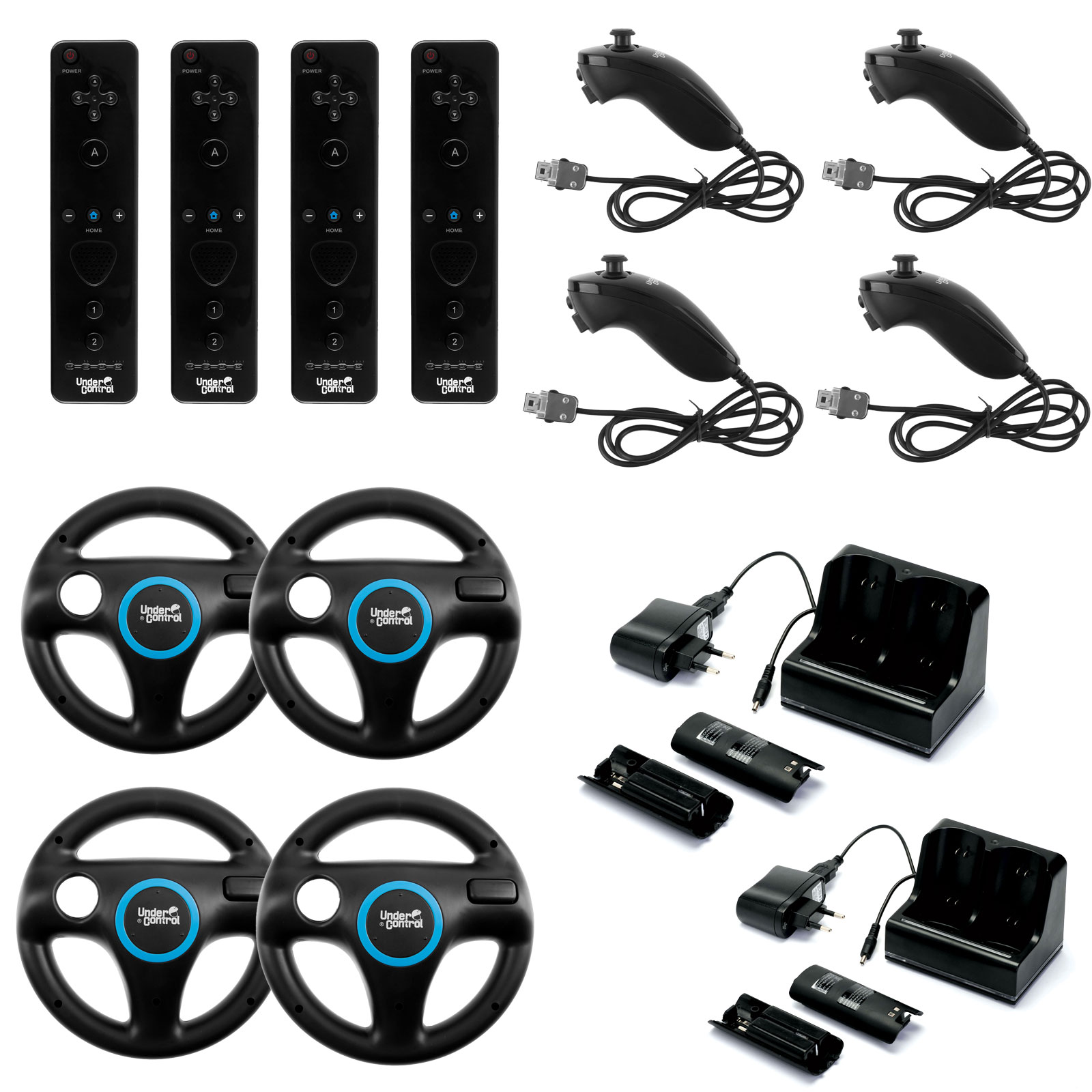 Under Control Wii/Wii U Family Kit (coloris noir) Pack familial complet  avec 4 ii Motion Controller, 4 ii Chuck, 4 Steering Wheel et 2 Charge  Station