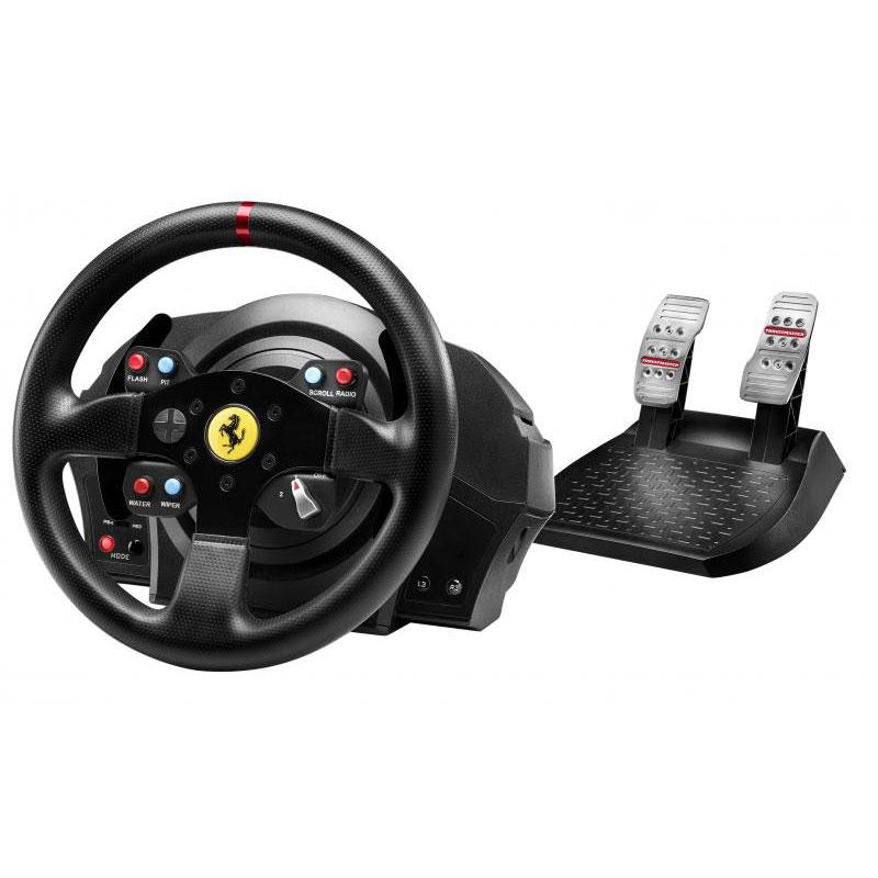 Volant PC Thrustmaster T300 Ferrari GTE Wheel Ensemble de simulation avec volant à retour de force et pédalier 2 pièces ajustable (compatible PC/PS3/PS4)