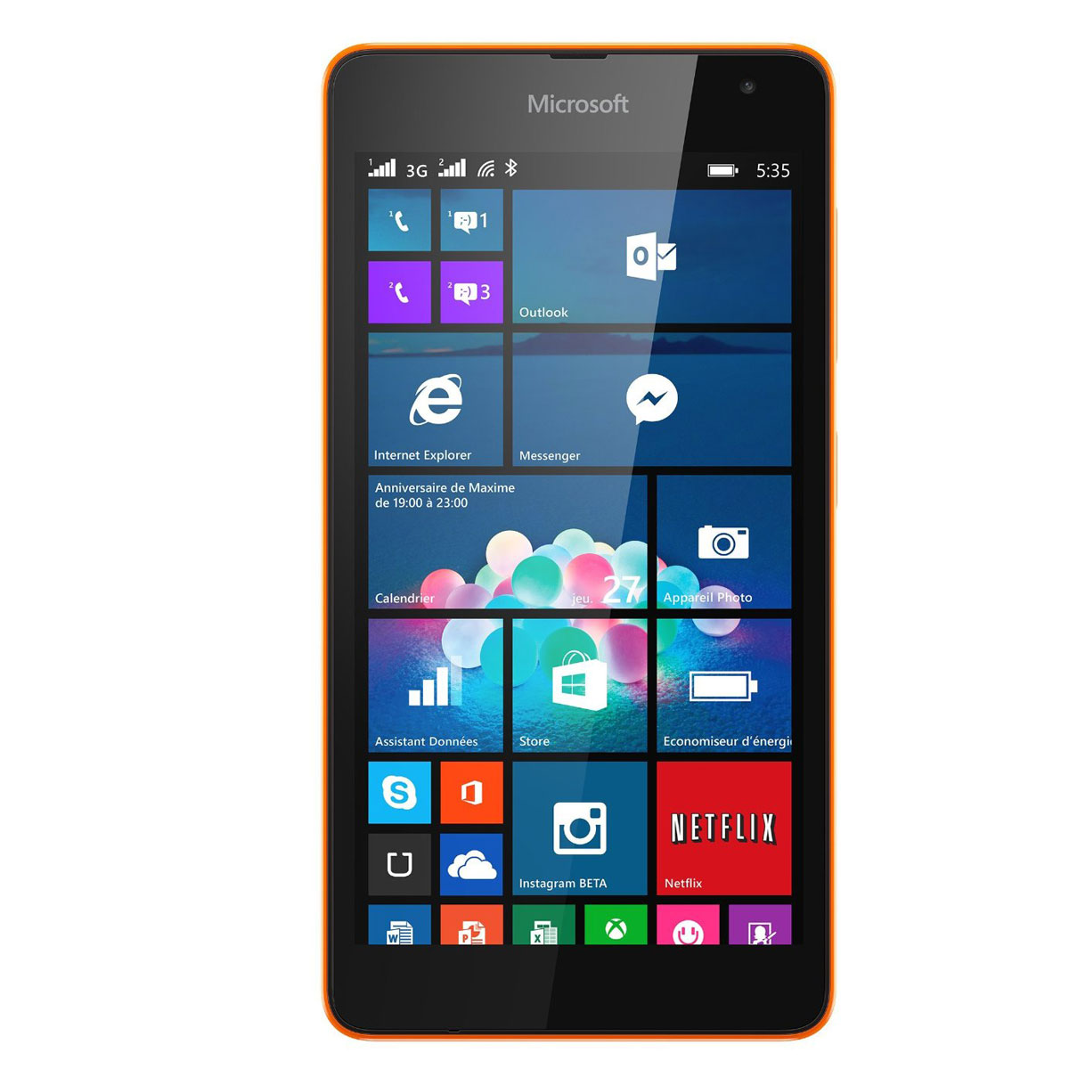microsoft lumia 535 dual sim orange a00022432 achat. Black Bedroom Furniture Sets. Home Design Ideas