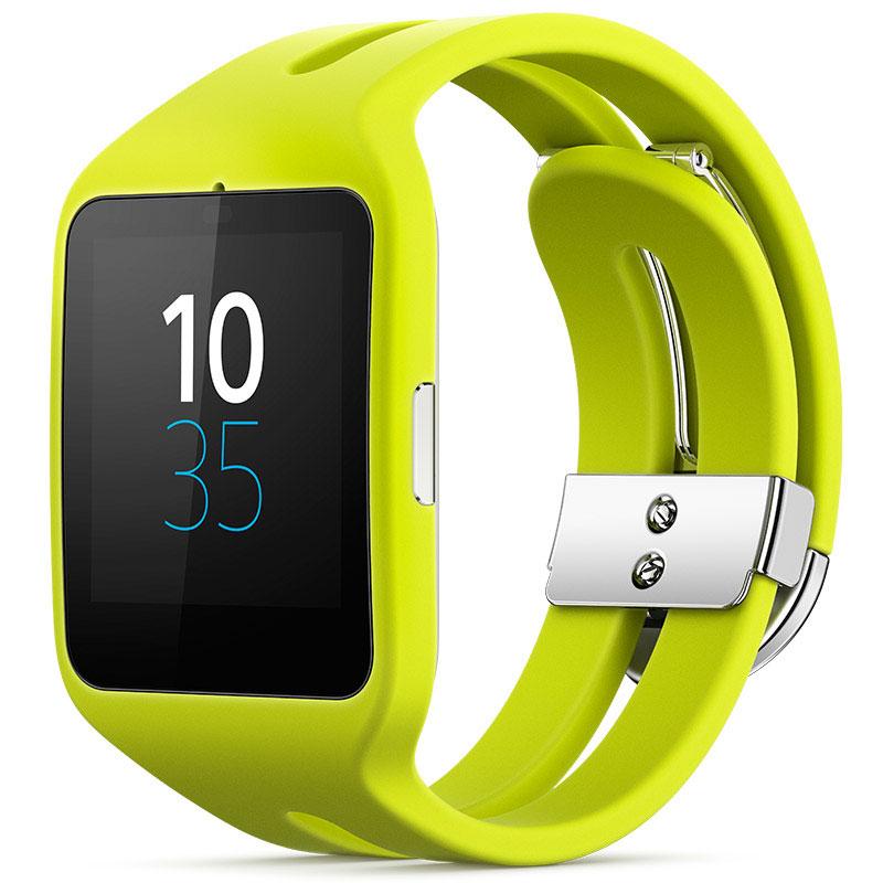sony smartwatch 3 silicone jaune montre bracelets. Black Bedroom Furniture Sets. Home Design Ideas