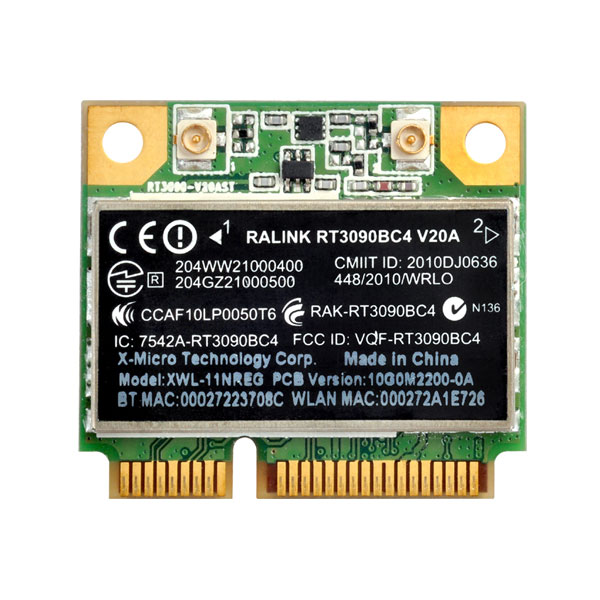 Carte réseau Silverstone ECW01 Carte Mini-PCI-Express WIFi 802.11 b/g/n + Bluetooth 3.0