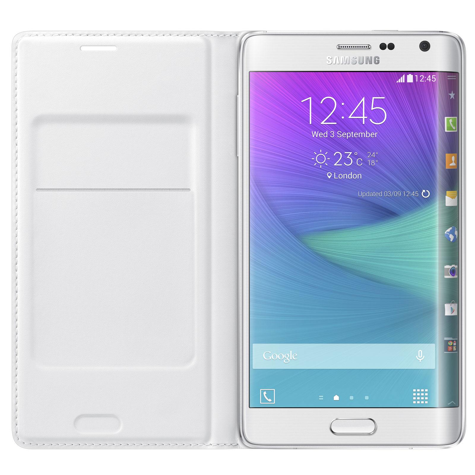 Etui téléphone Samsung Flip Wallet Blanc Samsung Galaxy Note Edge Etui portefeuille pour Samsung Galaxy Core 4G