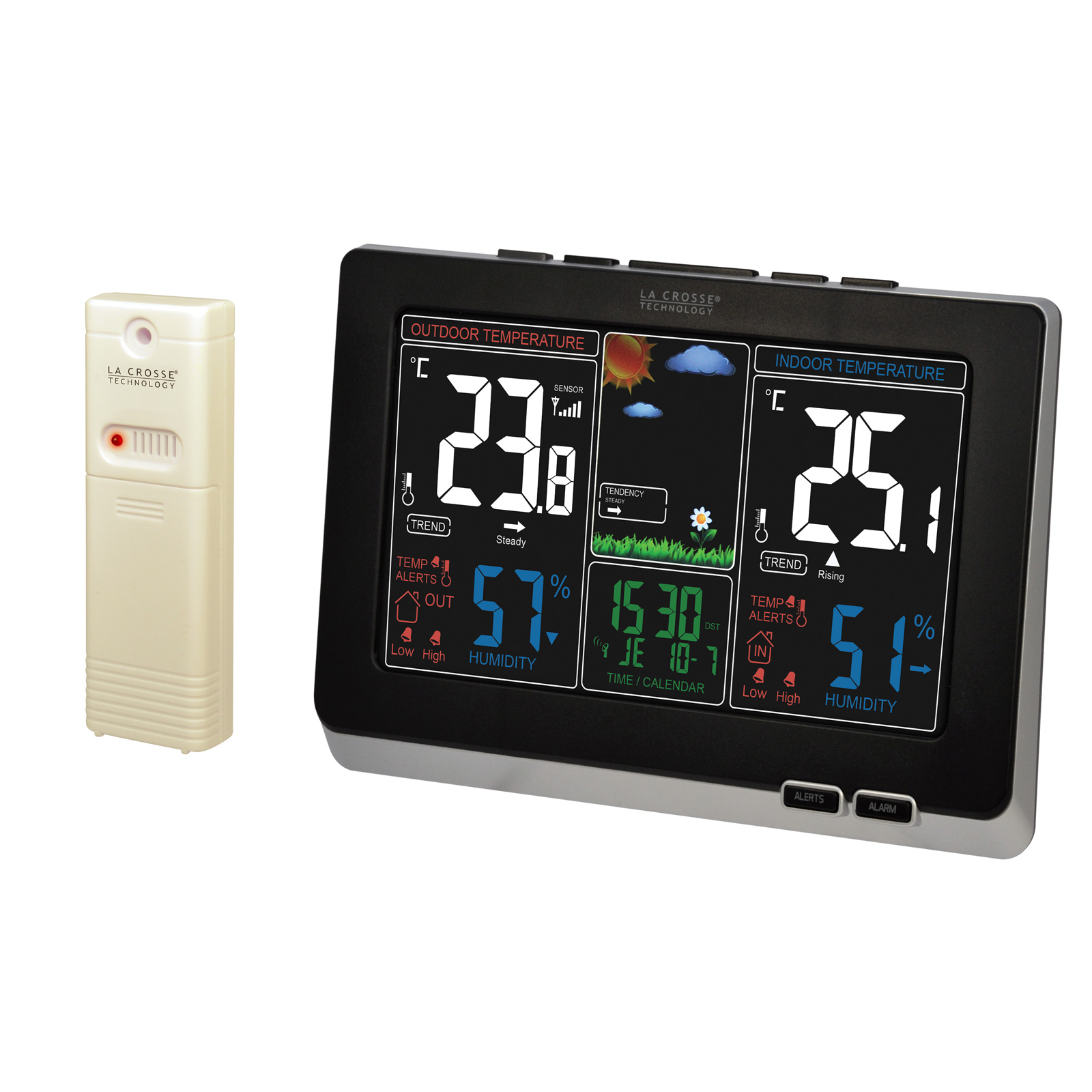 La crosse technology ws6828 bla station m t o la crosse for Station meteo temperature interieure et exterieure