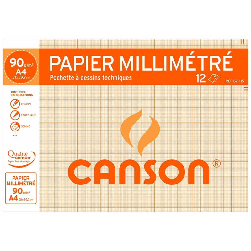 Papier spécifique Canson Papier à dessin millimétré 12 feuilles A4 90g Canson Papier à dessin millimétré 12 feuilles A4 90g