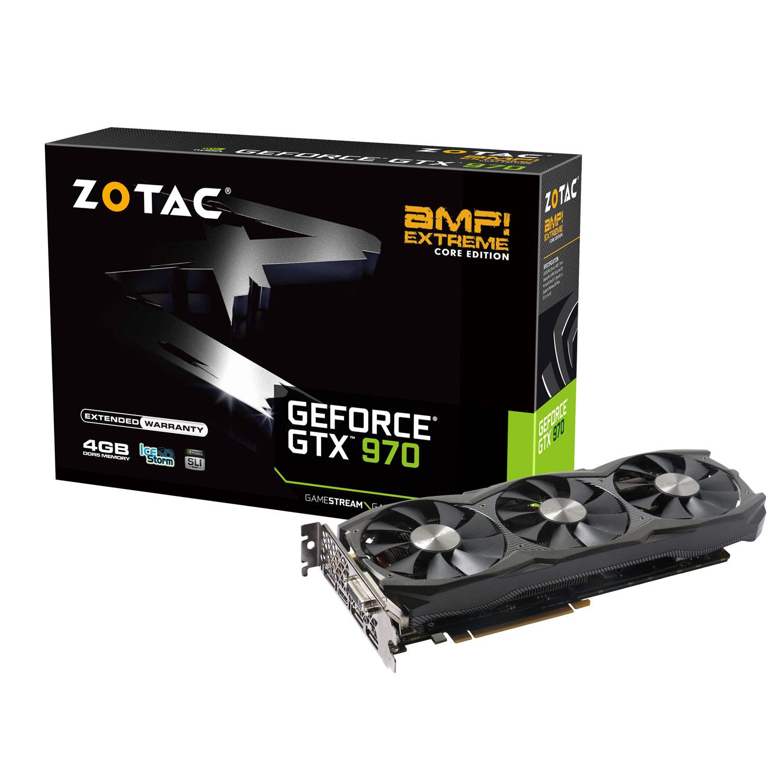 Carte graphique ZOTAC GeForce GTX 970  AMP! Extreme Core Edition 4 GB 4096 Mo DVI/HDMI/Tri DisplayPort - PCI Express (NVIDIA GeForce avec CUDA GTX 970)