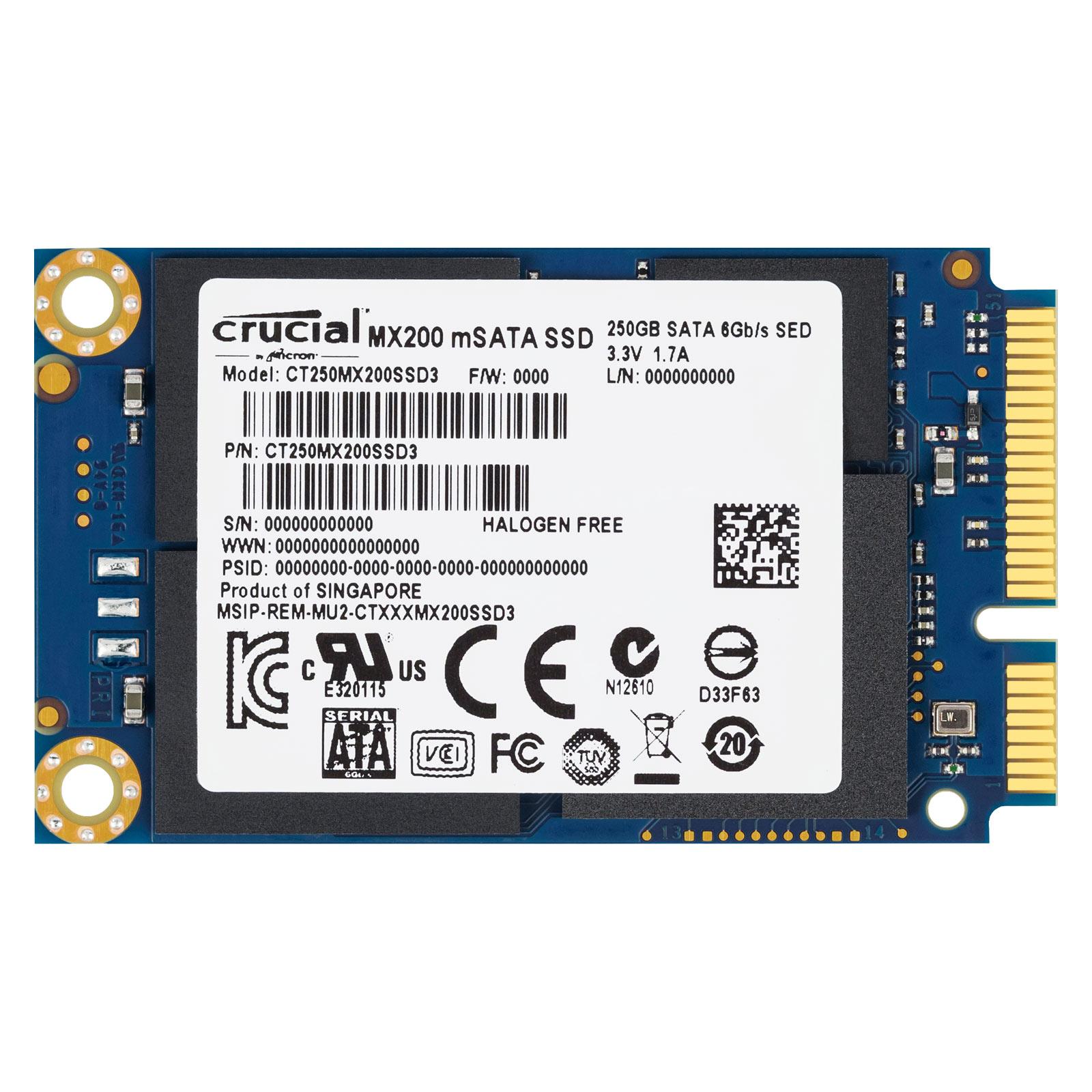 Disque SSD Crucial MX200 250 Go mSATA SSD 250 Go mSATA 6Gb/s
