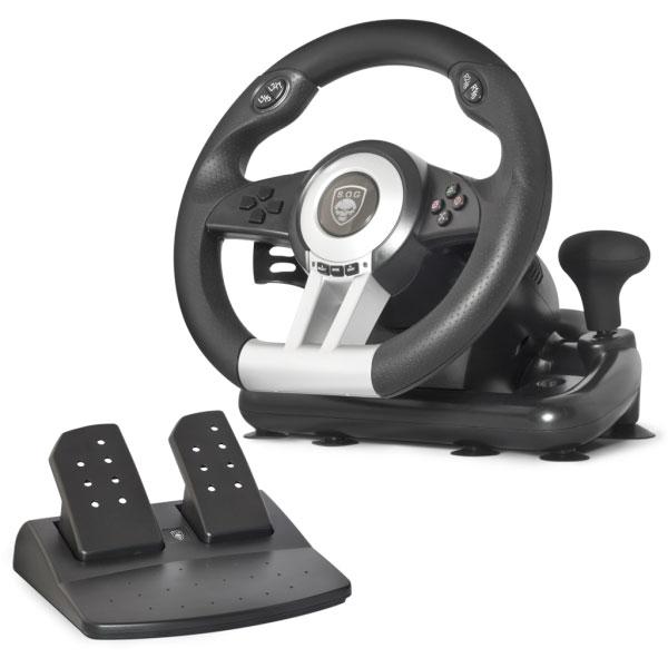 Volant PC Spirit of Gamer Race Wheel Pro Ensemble volant + pédalier + levier de vitesse (compatible PC / PlayStation 2 / PlayStation 3)